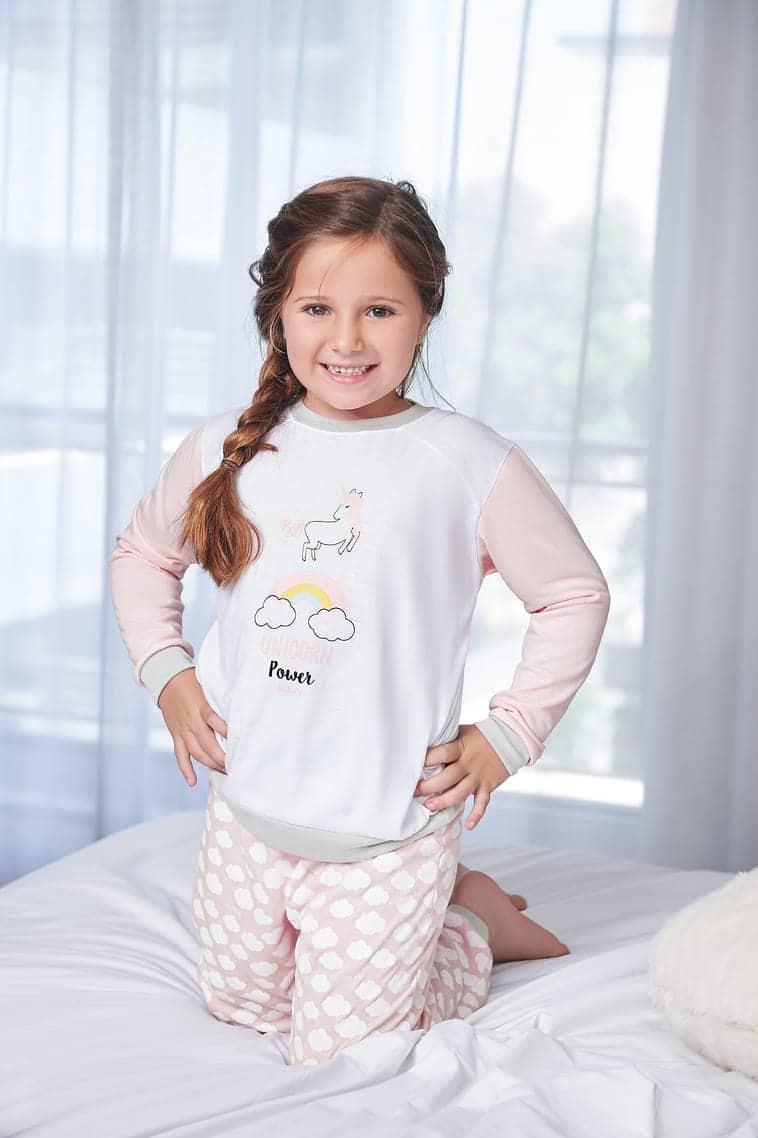 13d9b53472aaee Pijama de jersey, remera manga larga y pantalon con puño y cintura ...